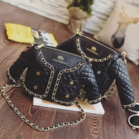 Wholesale Bags Chains Studs - Brand New High Quality Quilted Jacket Handbag PU Coat Shoulder Bags fashion women bags free shipping stud McDonald Evening Bags - M003
