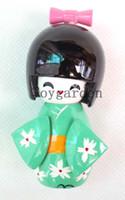 Wholesale Wholesale Japanese Kokeshi Wooden Dolls - Handmade 10pcs Set 9cm Japanese Creative KOKESHI Wooden Doll Girl Flower - Green