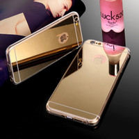 Wholesale iphone 5s gold for sale - Luxury Acrylic Mirror TPU Bumper Case For iPhone X S SE S Plus GALAXY S6 S7 S8 Edge NOTE Dustproof Protective Cover
