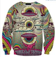 Wholesale eye print sweatshirt - Wholesale-Skull Crewneck Eye Bird Printed Sweatshirt Women Men Tracksuit Tops Jersey Plus Size S-5XL