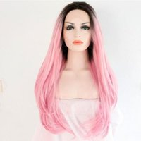 Wholesale Synthetic Weaving Wigs - Ombre Wig Fashion Baby Pink Synthetic Weave Lace Front Wigs for Party Heat Resistant Handmade Long Wavy Synthetic Lace Wigs