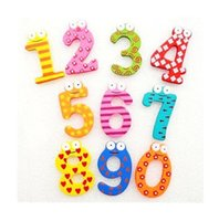 Wholesale Plastic Magnetic Numbers - Free Shipping Children's Christmas Creative gifts Kids wooden toys magnetic stickers Arabic numbers fridge magnets for childrendandys WD095