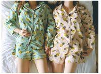 Wholesale Xs Pajama Set - Wholesale- New 2017 Pajama Sets Women Pineapple Print 3 Pieces Set Long Sleeve Top + Shorts Elastic Waist + Blinder Loose S61201