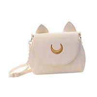 Wholesale Ear Covers Cat - Wholesale-Lovely Cute Sailor Moon Women Shoulder Bag Ladies Cat ears Luna Leather Chain Handbag Tote Purse Wallet Crossbody Messenger