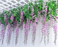 Wholesale Upscale Christmas Decorations - Upscale Artificial Silk Flower Vine Home Decor Simulation Wisteria Garland Craft Ornament For Wedding Party Decorations Free Shipping