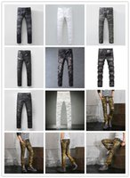 Wholesale Multi Effects Light - New style 2017 Brand high quality Men's fashion pleated washed blue biker jeans Slim stretch denim pants Moustache effect long trousers 6666