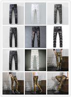 Wholesale Moustache Silver - New style 2017 Brand high quality Men's fashion pleated washed blue biker jeans Slim stretch denim pants Moustache effect long trousers 6666