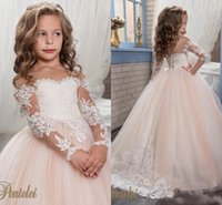 Wholesale prom dresses sweethart - Long Sleeve Applique Lace Tulle Ball Gown Princes Cute Beautiful Sweethart Flower Girl Dresses Prom Dresses Blush Pink