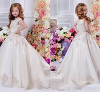 Wholesale Flowergirl Wear - Arabic 2017 Floral Lace Flower Girl Dresses Ball Gowns Child Pageant Dresses Long Train Beautiful Little Kids FlowerGirl Dress Formal Wear