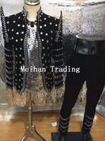 ingrosso abito luminoso-Nuova moda plus size cristalli giacca per uomo su misura glisten brillante blazer maschio cantante bar costume discoteca pantaloni outfit