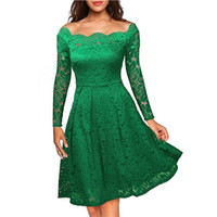 Brautkleid Durchschauen Kaufen -Zless Womens Lace Dress Elegant Sexy Sehen Sie durch Tunika Casual Club Brautjungfer Mutter der Braut Skater A-Line Party Dress Party Vestido