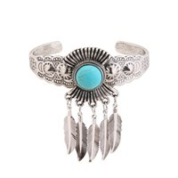 Wholesale Silver Turquoise Jewelry Box - Retro Turquoise Bracelets Opening Design Maple Leaves Bracelet Europe and The United States Style Hot Selling Jewelry For Women