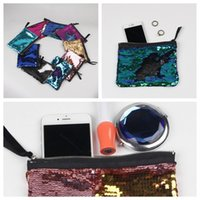 Wholesale Glitter Coin Purses Wholesale - 9 Colors 19*15cm Sequin Clutch Bag Mermaid Sequin Purse Mermaid Makeup Bags Cosmetic Bag Glitter Sequins Coin Bags YYA166 20pcs