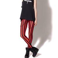 dikey çizgili tozluk toptan satış-Toptan Satış - Toptan-Dikey Şerit Legging 3d Baskılı Kadınlar Siyah Kırmızı Punk Rock Stil Seksi Tayt Out Kapı Moda Yeni Giyim Lady Costumn