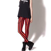 одежда в стиле рок-стиля оптовых-Wholesale- Vertical Stripe Legging 3d Printed Women Black Red Punk Rock Style Sexy Leggings Out Door Fashion New Clothing Lady Costumn