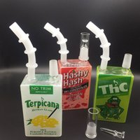 Wholesale Liquid Smoke Juice - DHL Free shipping!!Mini Glass Bong Juice Box Dab Oil Rigs 7.5 inch Liquid Sci Glass Cereal Box Water Pipes for smoking