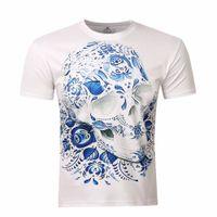 Wholesale Skull Blouse Wholesale - Wholesale- 2017 Men's Shirt 3D Printed Skulls T Shirt Vintage Men's Shirt Brand Top Summer Tees Casual Painting Short Sleeve Blouses M-4XL
