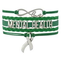 grünes bewusstseinsarmband großhandel-Gewohnheit-Unendlichkeits-Liebes-Geistesgesundheits-Bewusstseins-Multilayer-Band-Charme-Frauen Mens-Grün-Leder-mehrschichtiges Verpackungs-Armband-Gewohnheit