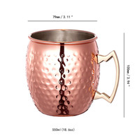 Wholesale brass mug - 2017 New Copper Plating Moscow Mule Mug Handmade of 100% Pure Copper Brass Handle 18OZ in stock