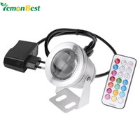 Wholesale LED Underwater Lamp IP68 Colors LM W RGB Fountain Light Timing Function Pool Pond Fish Tank Aquarium Spotlight EU Plug