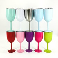 Wholesale Green Glass Goblets - 10oz 400ml Vacuum Stainless Steel Cocktail Glass Wine Glass Goblet with Lid Car Cup Red White Green 5pcs lot DEC254