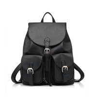 Wholesale fashion styles for teens - Preppy Style School Backpack Artificial Leather Fashion Women Shoulder Bag With Two Solid Pocket For Teens Girls