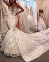 Wholesale Mermaid Sweetheart Sleeveless Crystal Cathedral - 2017 Mermaid Lace Wedding Dresses with Sweetheart Neckline Beaded and Detachable Long Lace Train Inspired By Adrienne Bailon's Bridal Gowns