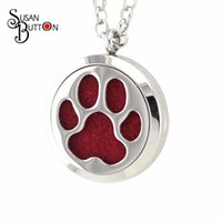 Wholesale Wholesale Pawprint Jewelry - New 10pcs Stainless Steel Dog Cat Pawprint Aromatherapy Locket Essential Oil Diffuser Perfume Locket Necklace Pendant Jewelry SJSB3963