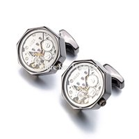 Wholesale Mens Clip Watches - Promotion Immovable Watch Movement Cufflinks Stainless Steel Steampunk Gear Watch Mechanism Cuff links for Mens Relojes gemelos