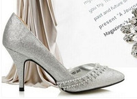 Wholesale High Heel Shoes Gold Paillette - wholesale free shipping factory price hot seller diamond bowknot pointed toes paillette big size women dress shoe 206