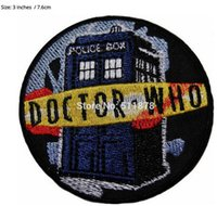 """Wholesale Police Boxes - 3"""" Doctor Who DR TARDIS POLICE BOX Logo TV MOVIE Series Costume Embroidered Emblem punk applique iron on patch"""