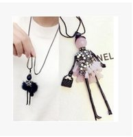 Wholesale Handmade American Girl Doll - 2017 News Handmade Dress Crystal Piece Sequins Girl Doll Pendants Long Necklace Sweater Chain collier Women Accessories