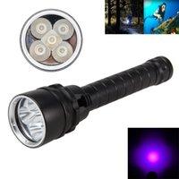 Wholesale Uv Torch Fishing - Underwater 100m 8000Lm LED Diving Flashlight 18650 5X UV Waterproof Flash Light Torches Lantern For Fish Camp 365nm-395nm