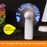 Wholesale Small Fan Led Lights - Mini LED Small Fan Baby Gift Girlfriend Creative Expression Gift Colorful Light Portable Travelling Cool Small Fan Customized