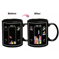 Wholesale Mugs For Kids - Tetris Color Change Cup Magic Ceramic Mug Cartoon Building Blocks Mugs Kids Birthday Present For Home High Quality 8yr