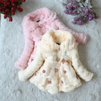Wholesale Parka Children - thick baby girl parkas coat bow lace faux fur warm overcoat for 1-8yrs girls children kids thick Winter outerwear clothes hot