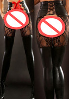 Wholesale Clubwear Leggings - Sexy Crotchless Lingerie Women's Lace Up Black Faux Leather Patchwork Lace Leggings Erotic Punk Clubwear Costume Gothic Bodycon Pants