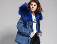 Wholesale Short Rabbit Fur Coats - Women denim jacket MRS FUR COATS rabbit fur Liner Detachable hooded with large raccoon fur collar
