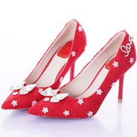Wholesale Thin Bridesmaids Dresses - Red Lace Pointed Toe Thin Heels Women Pumps Bridal High Heels Party Wedding Shoes Bowknot Elegant Dress Shoes Bridesmaid Shoes