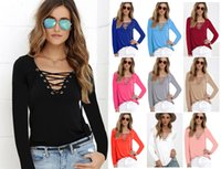 Wholesale Khaki Lace Long Sleeve Top - 2017 Fashion Women T-shirts long Sleeve Sexy Deep V Neck Bandage Shirts Women Lace Up Tops Tees T Shirt S-5XL