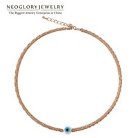 Wholesale Glass Beads For Eyes - Jewelry Glass Bead Gold Plated Chain evil eye Necklaces for Women Jewelry Brand Fashion Gift 2017 New Neoglory