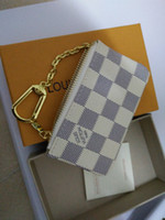 Wholesale Box Leather Bag - 2018 KEY POUCH Damier canvas holds high quality famous classical designer women key holder coin purse small leer with gift box bag sap147258