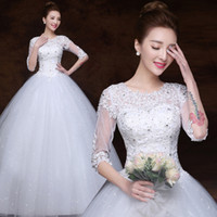 Wholesale Sweetheart Ruffled Slit Wedding Dress - Plus Size Wedding Gown Embroidery Organza New Model Hot Sale Half Sleeves Wedding Dress Bridal Dresses