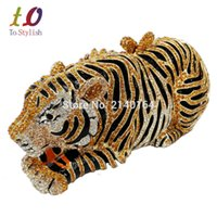 Wholesale Cell Phone Wedding - Wholesale- Stylish Animal Tiger Diamond Evening Bag Gold Luxury Diamante Crystal Clutch bag Wedding elegant bride Party banquet Purse 88166