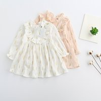 Wholesale Short Leave Dress - Everweekend Girls Leaves Print Ruffles Cotton Dress Pink and White Color Fall Spring Party Dress Cute Children Western Dresses