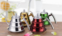Wholesale Tea Infusers Pots - 2017 Stainless Steel Pour Over Kettle Colorful Drip Pot for Coffee & Tea 1.2L Capacity Pour Over Coffee Kettle