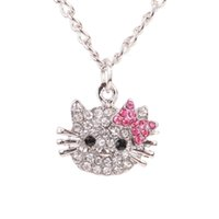 Wholesale Kitty Link - 2016 New Arrival Fashion Crystal Cat Rhinestone Hello Kitty necklace Bowknot KT Jewelry For Girls Necklace free shipping