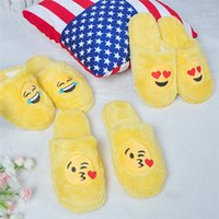 Wholesale yellow house shoes online - Emoji Slippers Cartoon Plush Slipper Home Wear Men Women Slippers Winter House Shoes Yellow Cartoon Cotton Shoes home shoes IB314