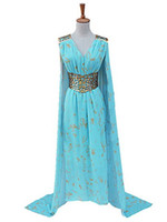 Wholesale Making Music Games - Malidaike Game of Thrones Womens Halloween Blue Dress Cosplay Costume Halloween Party Dress