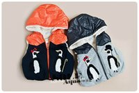 parches bordados de niños al por mayor-Nuevo Niños Con Capucha Chaleco Pingüino remiendo bordado niños corderos de lana Chaleco Abrigo Al Por Mayor